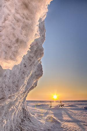 Frozen Lake of the Rising Sun