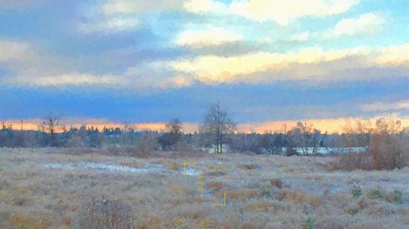 Winter Field at Sunset